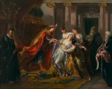 Jean-François de TROY Paris, 1679 - Rome, 1752 L'évanouissement d'Esther Huile sur toile