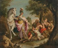 Attribué à Giuseppe ZAIS Forno di Canale, 1709 - Trévise, 1784 Herminie chez les bergers Huile sur toile