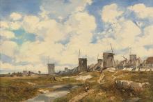 Louis-Adolphe HERVIER Paris, 1818 - 1879 Moulins près d'un littoral Huile sur toile