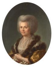 Attribué à Guillaume VOIRIOT Paris, 1713 - 1799 Portrait d'une dame de qualité au col de fourrure Huile sur toile de forme ovale