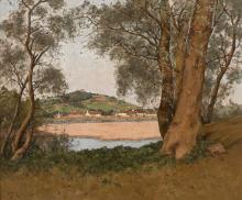 Henri LINGUET Paris, 1881 - (?), 1914 Vue des bords de Loire à Saint-Thibault Huile sur toile (Toile d'origine),