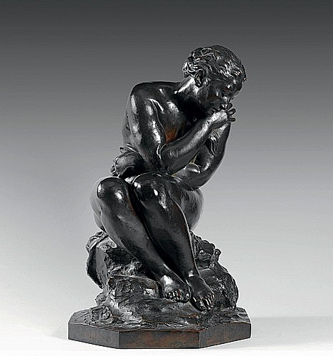 Aimules DALOU (Paris, 1838 - 1902) BAIGNEUSE AVANT LE BAIN Bronze atine brune...