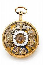 MARTIN MARTINE 3 AUTOMATES n° 7871 vers 1820 Montre de poche à répétition des heures et des quarts. Cadran squelette, émail blanc...
