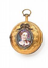 LEPINE à PARIS Montre à coq en or. Boîtier rond, dos ciselé et émaillé à décor d'une jeune femme surlignée de brillants. Cadran ém...
