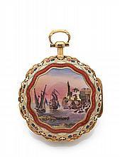 GEORGES PRIOR à LONDRES SONNERIE SILENCE sur cloche n° 141416 vers 1810 Rare et superbe montre à coq à double boîte en or à sonn...