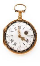 LEPINE REPETITION DES QUARTS vers 1780 Belle montre à coq à répétition des quarts en or. Boîtier rond, dos ciselé. Cadran émail...