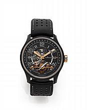 JAEGER LECOULTRE AMVOX3 TOURBILLON GMT LIMITED EDITION N° 53/300 vers 2009 Rare et belle montre bracelet en or rose et céramique...