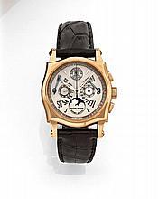 ROGER DUBUIS SYMPATHIE BIRETROGRADE CALENDAR LIMITED EDITION n°2/28 vers 2000. Rare et beau chronographe bracelet en or rose. Bo...