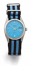 ROLEX OYSTER DATE PRECISION réf: 6694 vers 1977 Montre bracelet en acier. Boîtier rond, couronne et fond vissés. Cadran bleu fan...