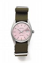 ROLEX OYSTER DATE PRECISION réf: 6694 vers 1968 Montre bracelet en acier. Boîtier rond, couronne et fond vissés. Cadran rose fan...