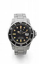 ROLEX SUBMARINER ROUGE réf: 1680 vers 1972 Rare belle montre bracelet de plongée en acier. Boîtier rond. Couronne et fond vissés...
