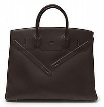 HERMÈS 2009  Sac BIRKIN SHADOW 40 cm Veau Evercalf ébène  40 cm BIRKIN SHADOW bag Ébène Evercalf calfskin leather R...