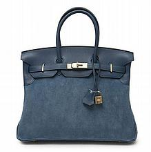 HERMÈS 2012  Sac BIRKIN GRIZZLY 35 cm Veau Swift et Grizzly bleu abysse Garniture métal permabrass  35 cm BIRKIN GRIZZ...