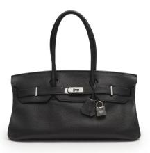 HERMÈS 2010  Sac BIRKIN SHOULDER Veau taurillon Clémence noir Garniture métal argenté palladié  BIRKIN SHOULDER bag ...
