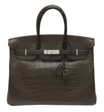 HERMÈS 2012  Sac BIRKIN 35 cm Alligator gris éléphant mat (Alligator mississippiensis) II/B source W Garniture métal argen...