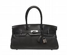HERMÈS 2007  Sac BIRKIN SHOULDER Veau taurillon Clémence noir Garniture métal ruthénium  BIRKIN SHOULDER bag Black t...