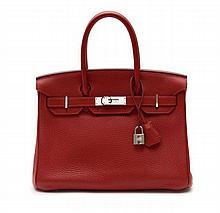 HERMÈS 2012  Sac BIRKIN 30 cm Veau taurillon Clémence rouge braise Garniture métal argenté palladié  30 cm BIRKIN bag...