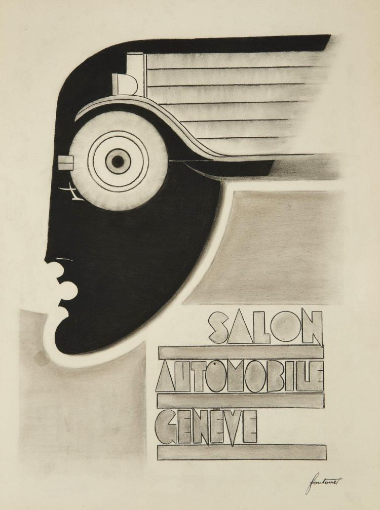No l fontanet 1898 1982 rare projet original pour l 39 39 affic - Affiche salon de l auto ...