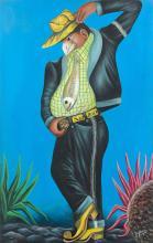 Pierre Bodo Congolais - 1953-2015 Sans titre - 2008 Acrylique et paillettes sur toile