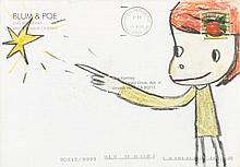 Yoshitomo NARA Né en 1959 SANS TITRE (WHO SNATCHED THE BABIES) - 2001-2002 Pastel sur papier