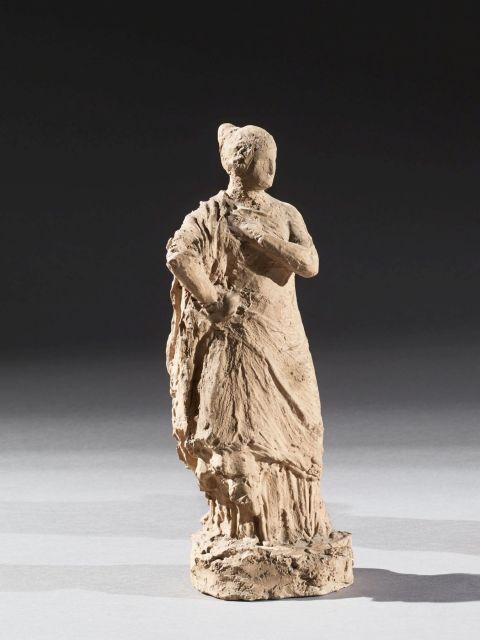 ÉCOLE FRANÇAISE DU XIXe SIÈCLE Attribué à Théodore Louis Auguste Rivière (1857 - 1912) Femme drapée