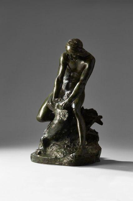 François-Raoul LARCHE, dit Raoul LARCHE (1860-1912) Pécheur Bronze à patine brune