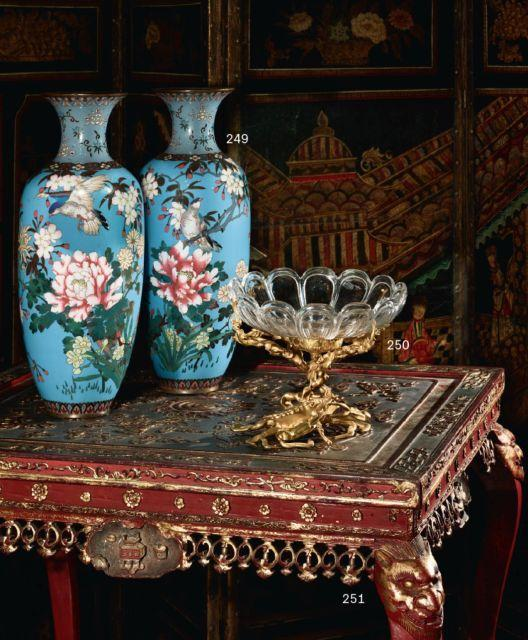 paire de vases en cuivre et maux cloisonn s japon circa 1. Black Bedroom Furniture Sets. Home Design Ideas
