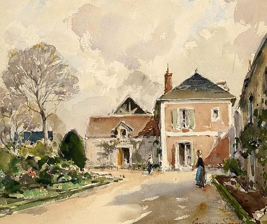 Paul-Emile LECOMTE (1877-1950) COUR DE MANOIR Aquarelle sur papier