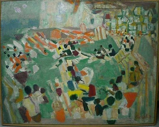 Alexandre GARBELL (1903-1970) PLAGE DE MERS, 1954 Huile sur toile