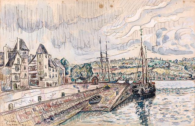 Paul SIGNAC (Paris, 1863- Paris, 1935) TREGUIER, LE PORT SOUS LA PLUIE,1927 Dessin à l'aquarelle et mine de plomb sur papier