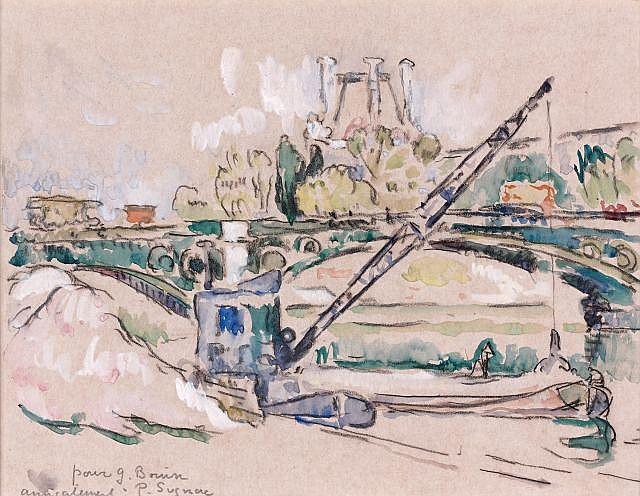 Paul SIGNAC (Paris, 1863- Paris, 1935) PARIS, LE PONT DES SAINTS PERES Aquarelle et crayon sur papier
