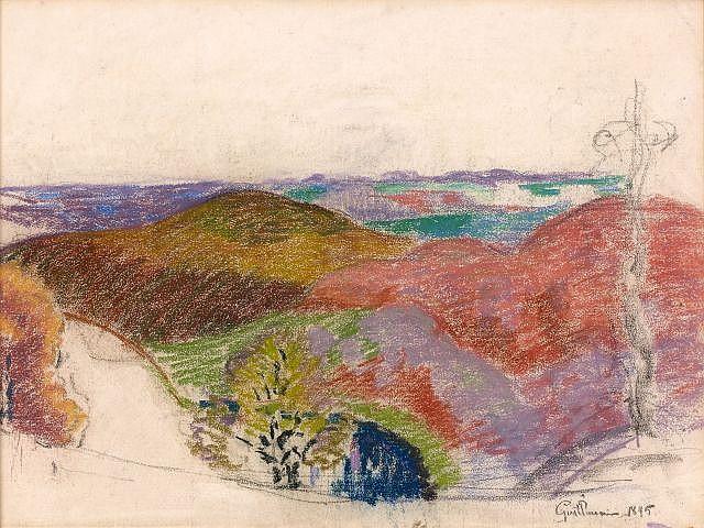 Armand GUILLAUMIN (Paris, 1841- Orly, 1927) ETUDE DE PAYSAGE, 1895 Pastel sur papier