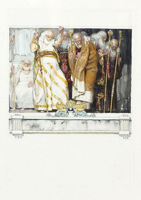 Frank KUPKA (Opocno, 1871-Puteaux, 1957) LES VIEILLARDS, ILLUSTRATION POUR LES ERRINYES DE LECONTE DE LISLE, circa 1906-1908 Aquarel...