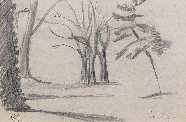 Klossowski de Rola, dit BALTHUS (Paris, 1908 - Rossinière, 2001) ETUDE D'ARBRES, 1926 Dessin au crayon sur papier