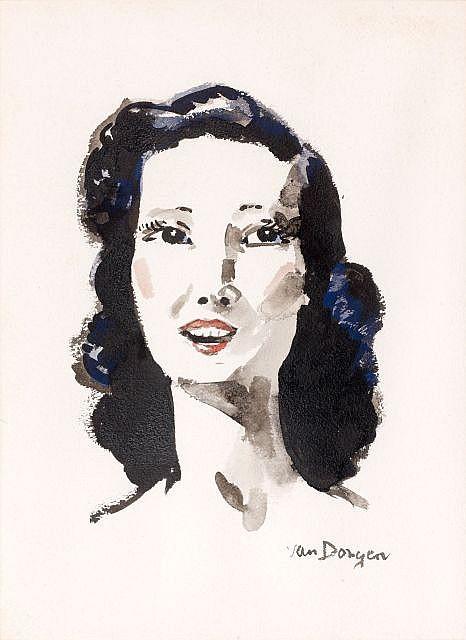 Kees VAN DONGEN (Delfshaven, 1877 - Monaco, 1968) PORTRAIT DE FEMME Gouache, aquarelle et lavis sur papier