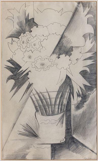 Natalia GONTCHAROVA (Nagaïevo, 1881 - Paris, 1962) NATURE MORTE AUX FLEURS, 1915 Dessin à la mine de plomb sur papier
