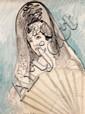 Francis PICABIA (Paris, 1879 - Paris, 1953) ESPAGNOLE, circa 1925-1926 Aquarelle, encre et crayon sur papier