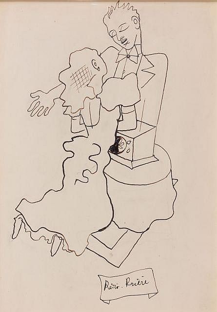 Jean COCTEAU (Maisons-Laffitte, 1889- Milly-la-forêt, 1963) RADIO-PRIERE, 1936 Dessin à l'encre sur papier