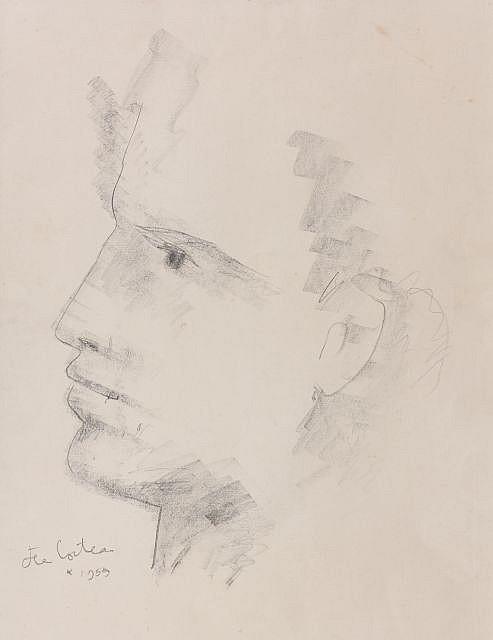 Jean COCTEAU (Maisons-Laffitte, 1889- Milly-la-forêt, 1963) PROFIL DE FAUNE, 1955 Dessin au fusain sur papier