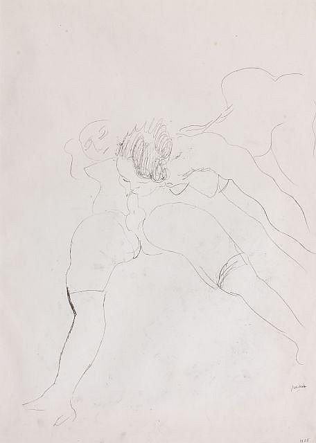 J. Pincas dit PASCIN (Vidin, 1885 - Paris, 1930) HERMAPHRODITES/ JEUX DE GARCON ET PETITE FILLE, 1928 Dessin double face à l'encre s..