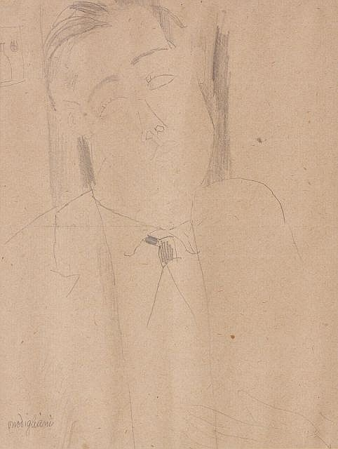 Amedeo MODIGLIANI (Livourne, 1884- Paris, 1920) PORTRAIT DE CONRAD MORICAND, 1916 Dessin au crayon sur papier