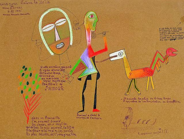 ¤ Victor BRAUNER (Piatra Neamt, 1903- Paris, 1966) CONTE POUR LAURA LA BELLE, 1941 Dessin à l'encre et crayon de couleur sur papier