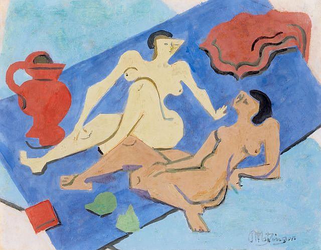 Jean METZINGER (Nantes, 1883- Paris, 1956) DEUX NUS SUR LA PLAGE, circa 1945 Gouache sur papier