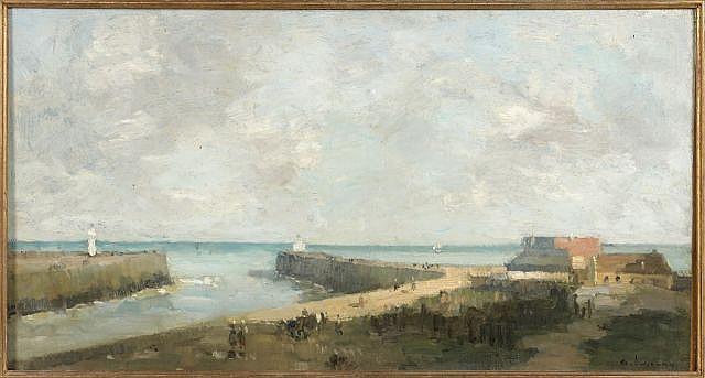 Albert LEBOURG (Montfort sur Risle, 1849 - Rouen) EMBOUCHURE D'UN FLEUVE Huile sur toile