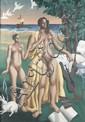 Eugène MAC COWN (1886-1966) LES DEUX NUES AU LAPIN, 1925 Huile sur toile