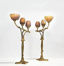 Louis MAJORELLE & DAUM 1859 - 1926 PAIRE DE FLAMBEAUX