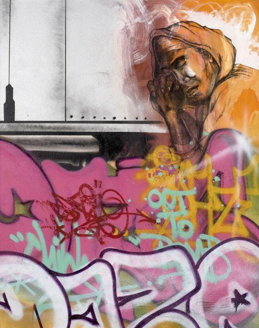 DAZE (Chris Ellis Daze dit) Américain - Né en 1962 Contemplating the lay- up - 2008 Peinture aérosol sur toile