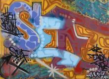 TOXIC Américain - Né en 1965 Self - 2007 Peinture aérosol sur toile