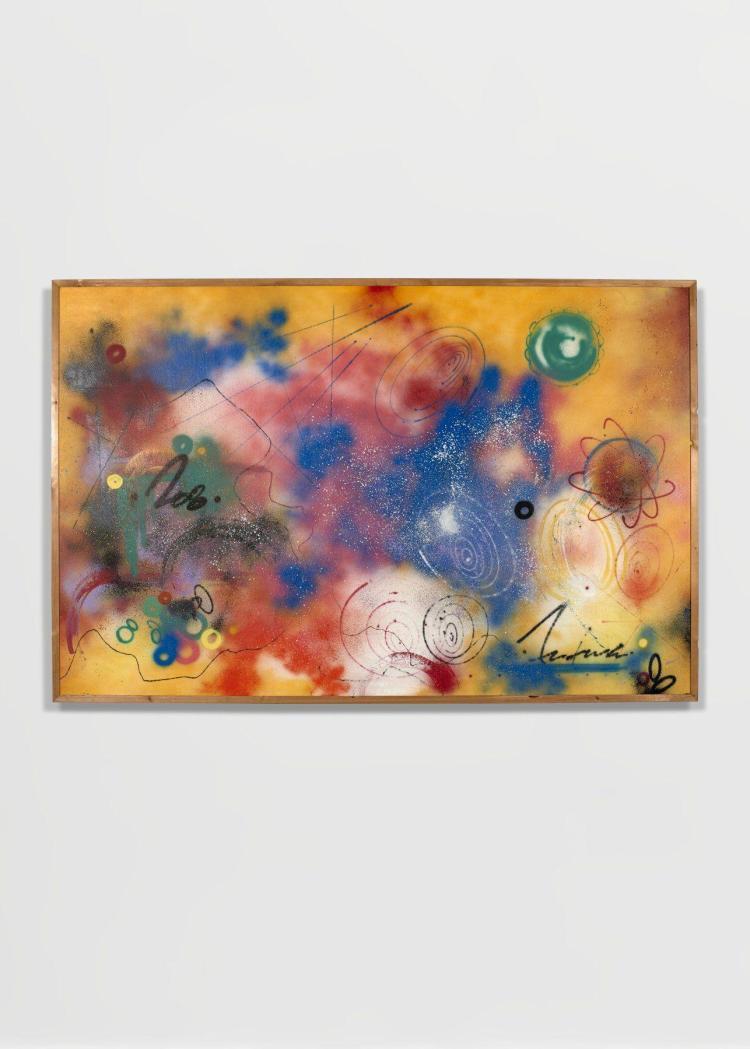 FUTURA 2000 Américain - Né en 1955 Sans titre- 1984 Peinture aérosol sur papier kraft fixé sur panneau de bois