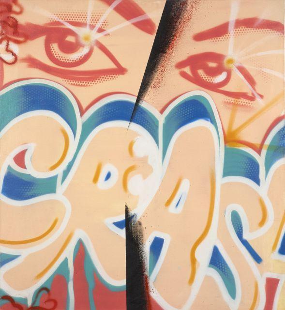 CRASH (John Crash Matos dit) Américain - Né en 1961 Not fully cubistic - 1985 Peinture aérosol sur toile